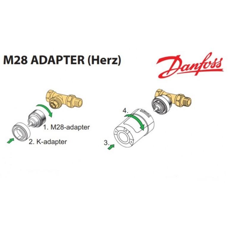 Адаптер Danfoss для термостатических клапанов HERZ М28х1.5 на термоголовку М30х1.5 014G0256, фото 4