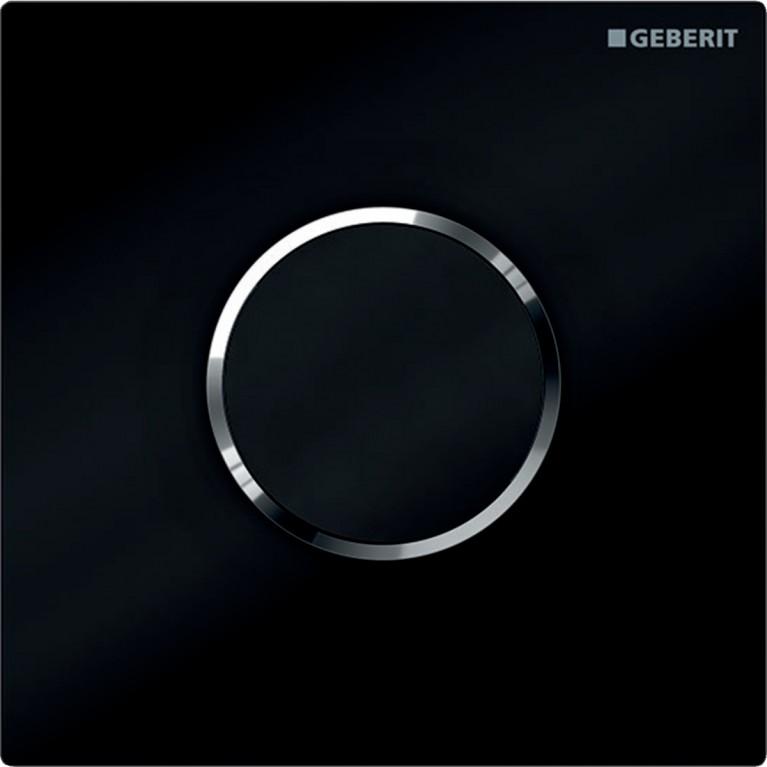 Система электронного управления смывом писсуара Geberit, питание от батарей, крышка тип 10, черная и хром глянец