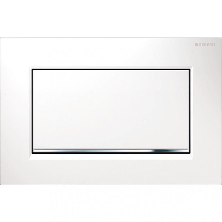 Смывная клавиша Geberit Sigma30 металл с системой смыв/стоп, цвет белый и хром глянцевый