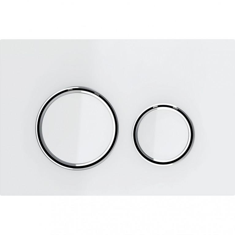 Смывная клавиша Geberit Sigma21 металл и стекло, двойной смыв, цвет хромированный и белый