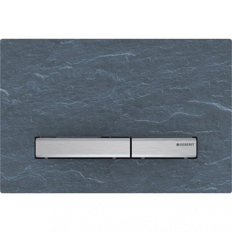 Смывная клавиша Geberit Sigma50 двойной смыв, металл хромированный и натуральный камень Mustang