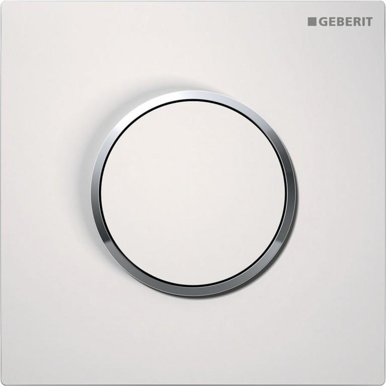 Система пневматического управления смывом писсуара Geberit, клавиша Sigma10, цвет белый и хром глянцевый