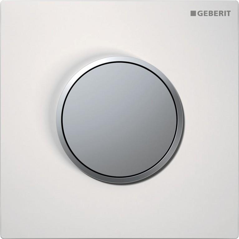 Система пневматического управления смывом писсуара Geberit, смывная клавиша тип 10, цвет белый и хром