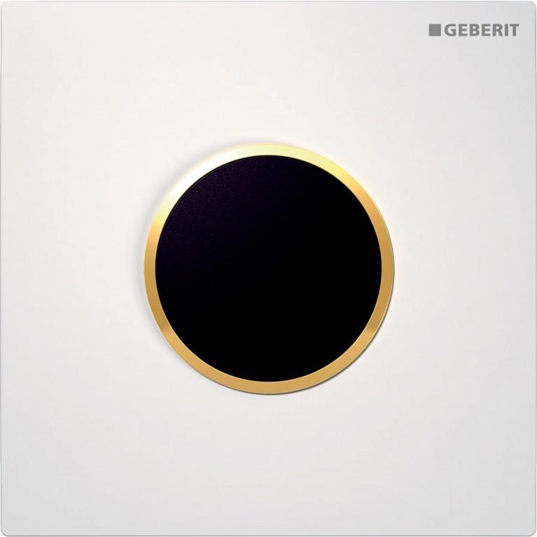 Система электронного управления смывом писсуара Geberit, питание от сети, защитная крышка тип 10, белая с позолотой