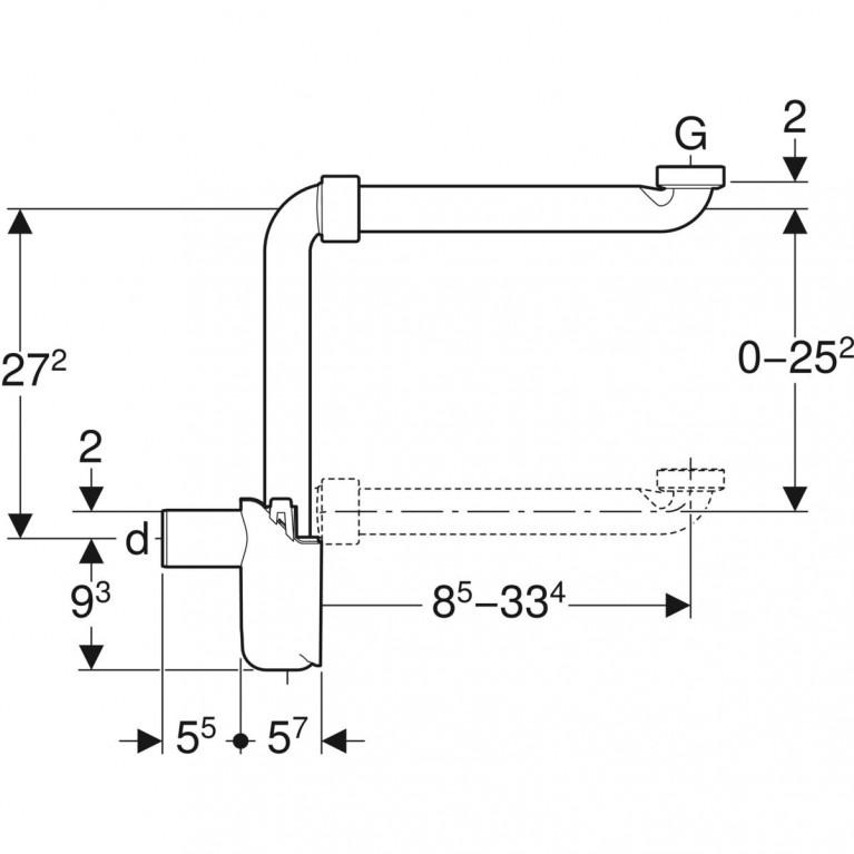 Сифон бутылочный Geberit для умывальников, компактная модель, d32 мм 151.116.11.1, фото 2