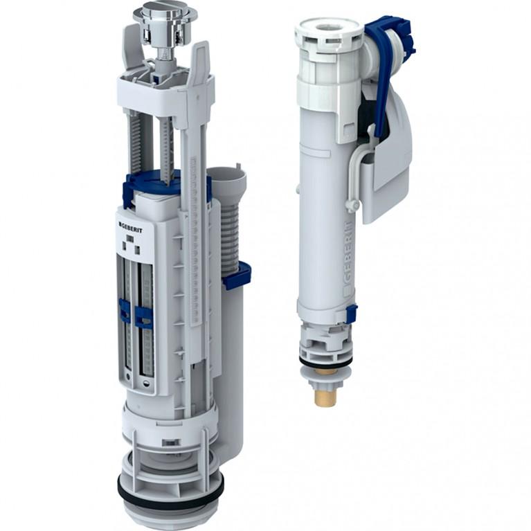 Механизм смыва Geberit для бачка тип 290-360, двойной смыв с подводом воды снизу, ниппель из латуни 3/8