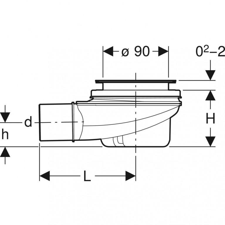Сифон для душевых поддонов Geberit d 90, высота гидрозатвора 50 мм 150.550.00.1, фото 2