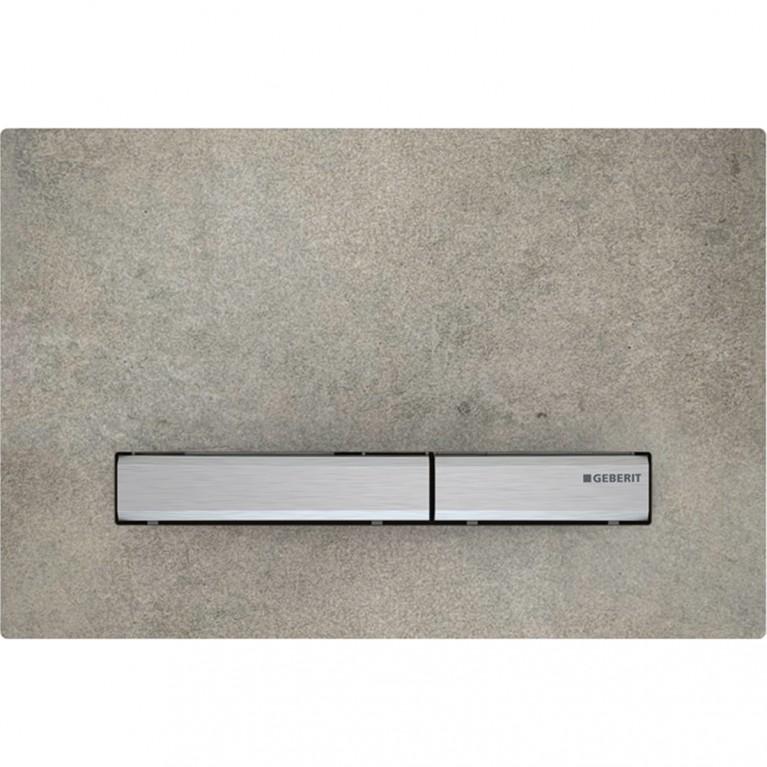 Клавиша смыва Geberit Sigma50, двойной смыв, цвет металлический хромированный и керамика под бетон