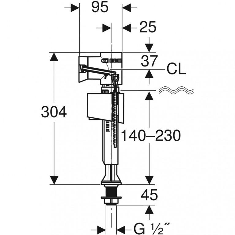 Впускной клапан Geberit тип 340 для керамических бачков, подвод воды снизу 1/2 136.726.00.1, фото 2