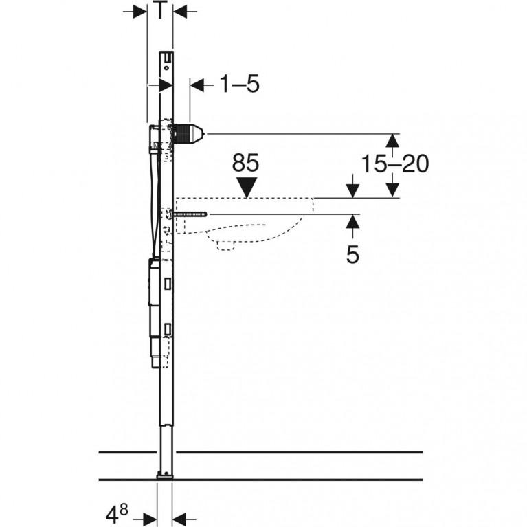 Монтажный элемент для умывальника Geberit Duofix H130 см с функциональным блоком для электронного смесителя и сифоном  111.562.00.1, фото 3