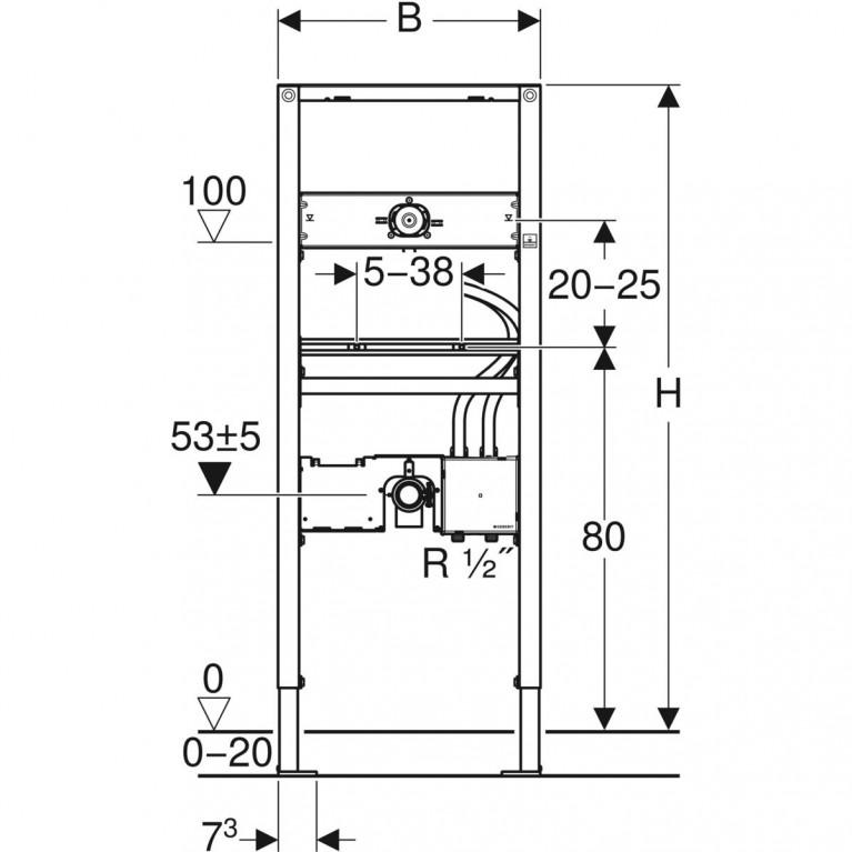 Монтажный элемент Geberit Duofix для умывальников с функциональным блоком скрытого монтажа, высота 130 см 111.560.00.1, фото 3