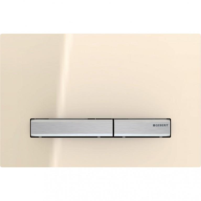 Смывная клавиша Geberit Sigma50 двойной смыв, металл хромированный и стекло песочное