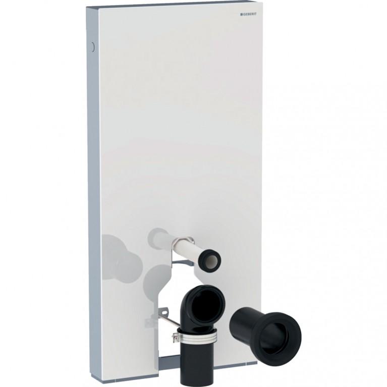 Сантехнический модуль Geberit Monolith Plus для напольного унитаза, 101 см, белое стекло и алюминий