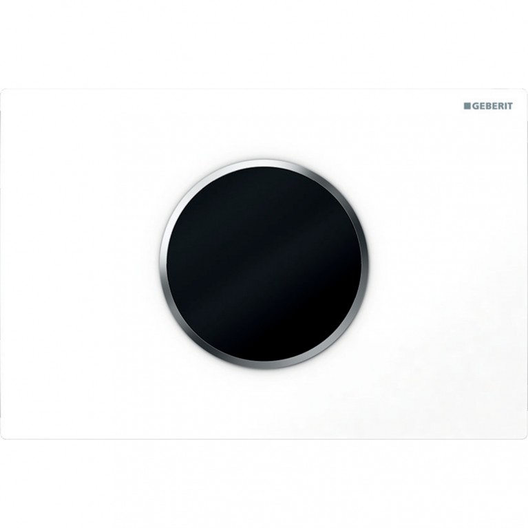 Смывная клавиша бесконтактная Geberit Sigma10, питание от батарей, двойной смыв цвет белый и матовый хром