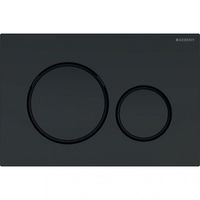Смывная клавиша Geberit Sigma20 двойной смыв с легкоочищаемой поверхностью, черный матовый и черный