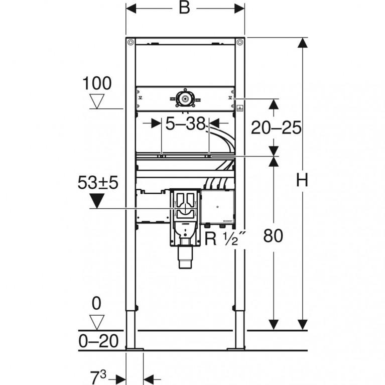 Монтажный элемент для умывальника Geberit Duofix H130 см с функциональным блоком для электронного смесителя и сифоном  111.562.00.1, фото 4