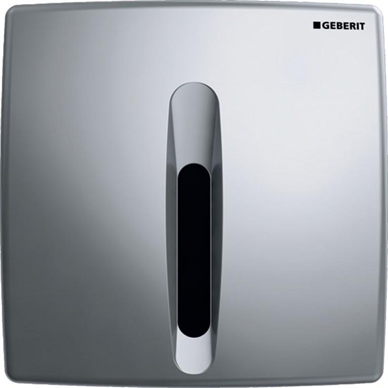 Система электронного управления смывом писсуара Geberit, питание от сети, защитная крышка пластик, Basic, хром матовый