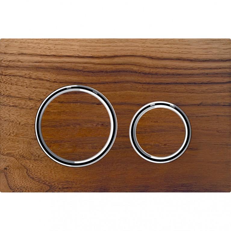 Смывная клавиша Geberit Sigma21 двойной смыв, цвет металлический хромированный и натуральное дерево