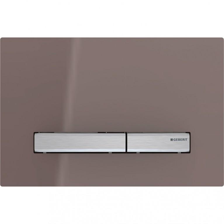 Смывная клавиша Geberit Sigma50 двойной смыв, металл хромированный и стекло умбра