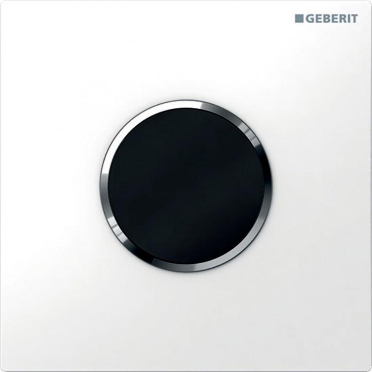 Система электронного управления смывом писсуара Geberit, питание от батарей, Sigma10, белый и хром глянцевый
