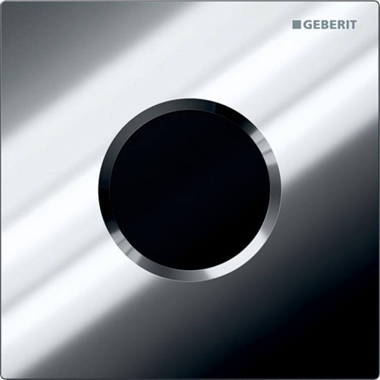 Система электронного управления смывом писсуара Geberit, питание от батареи, клавиша Sigma01, хром глянцевый
