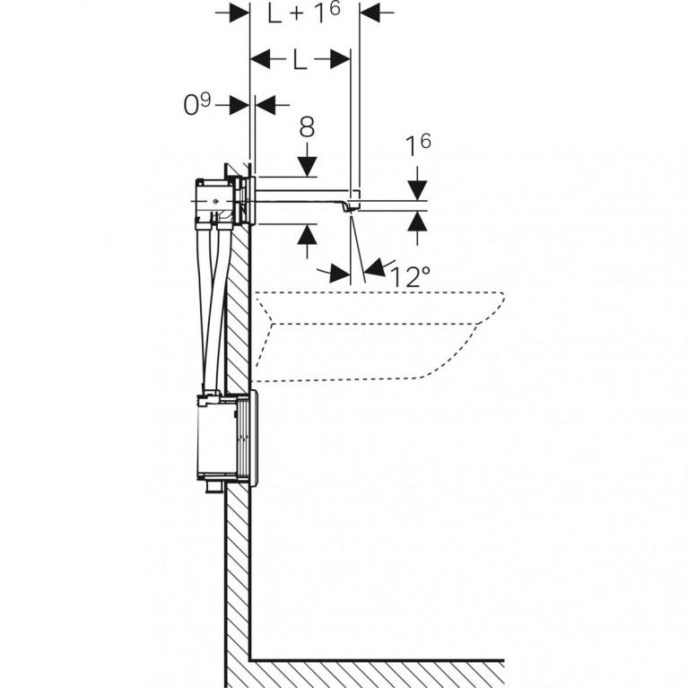 Смеситель для раковины Geberit Brenta, бесконтактный питание от сети и скрытый блок, с миксером, L22 см 116.292.21.1, фото 3