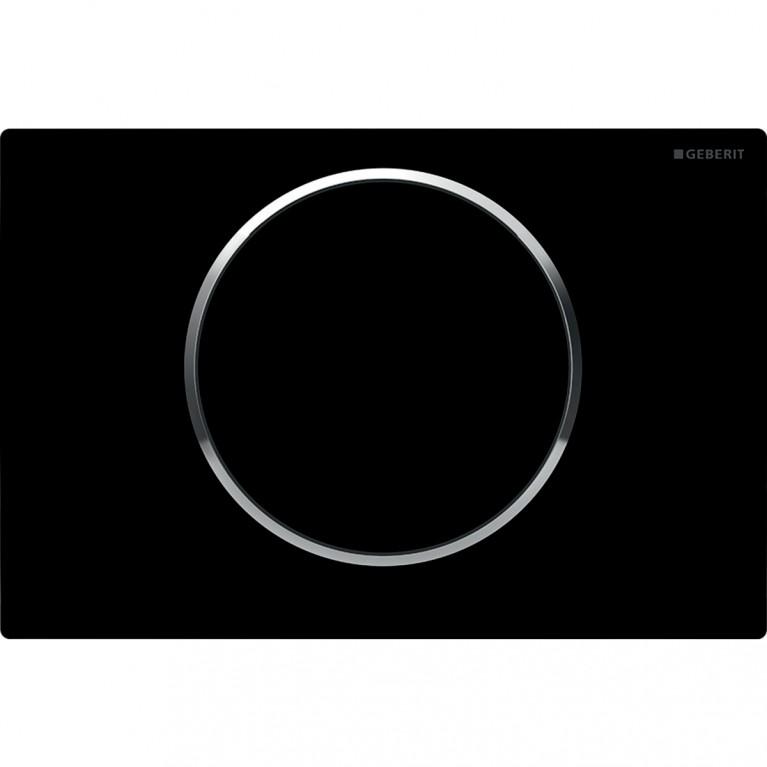 Смывная клавиша Geberit Sigma10 система смыв/стоп, цвет черный и хром глянцевый