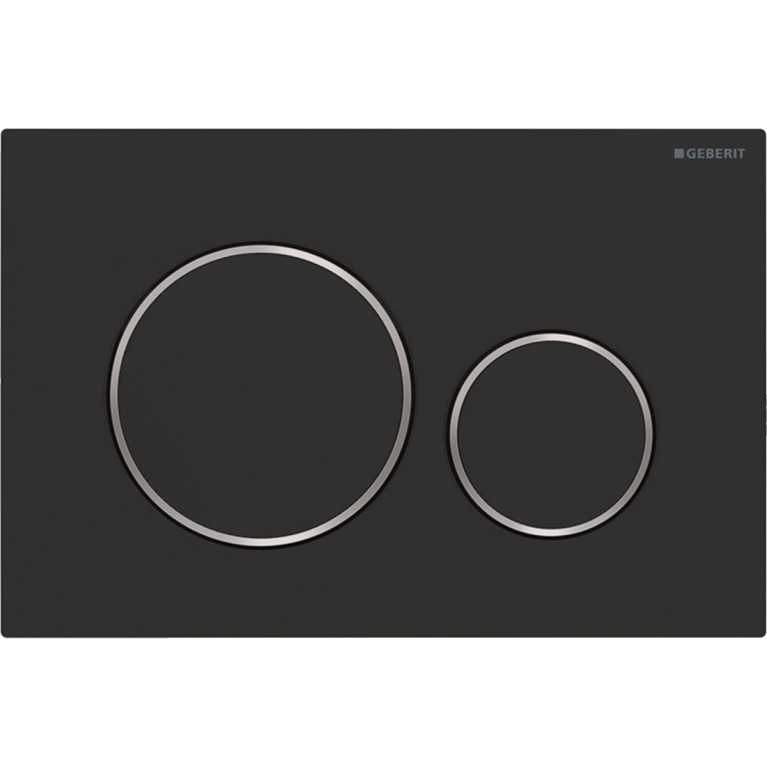 Смывная клавиша Geberit Sigma20 двойной смыв с легкоочищаемой поверхностью, черный матовый и хром глянцевый