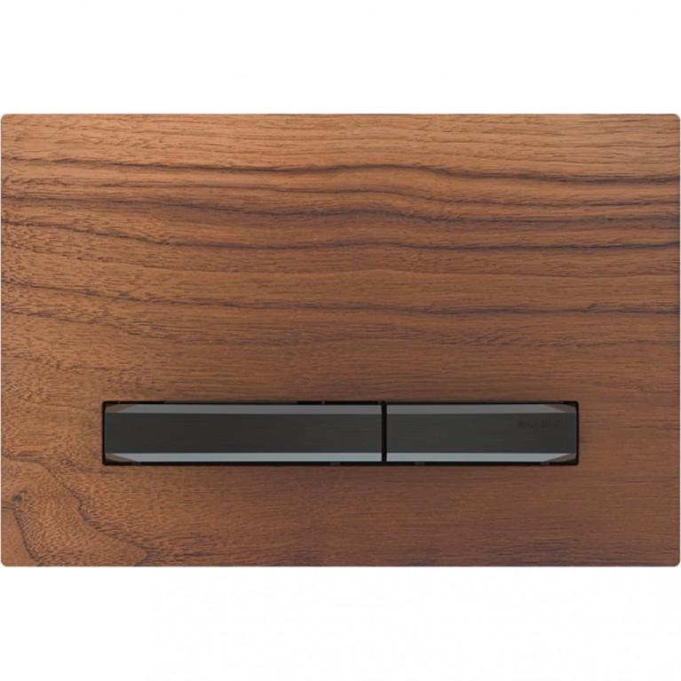 Клавиша смыва Geberit Sigma50, для двойного смыва, цвет черный хром и натуральное дерево черный орех