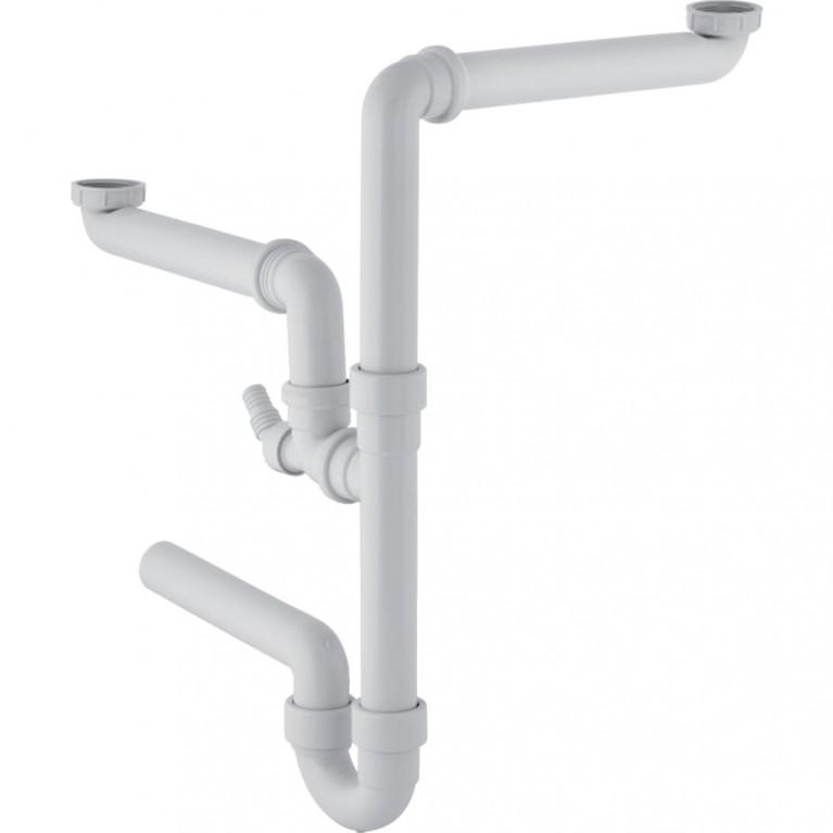 Сифон Geberit, для двойной кухонной раковины, горизонтальный выпуск d 40 мм