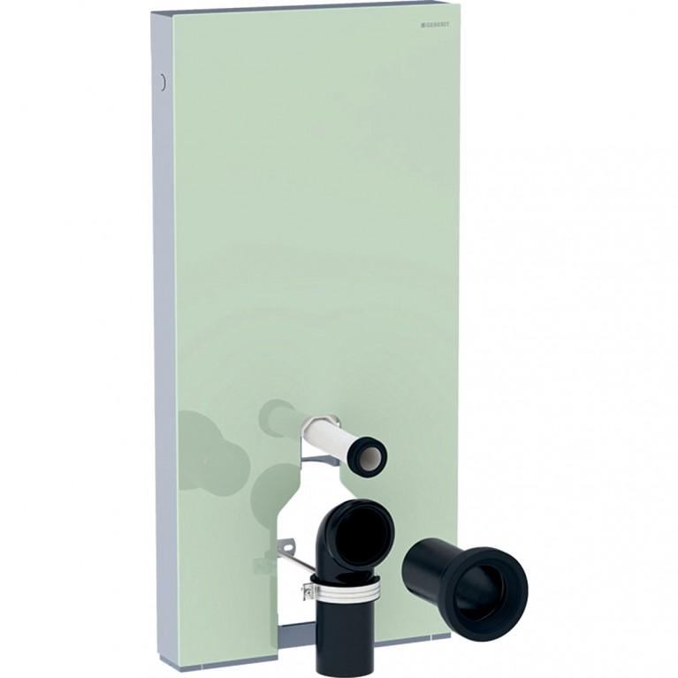 Сантехнический модуль Geberit Monolith для напольного унитаза, 101 см, стекло цвет мятный, алюминий