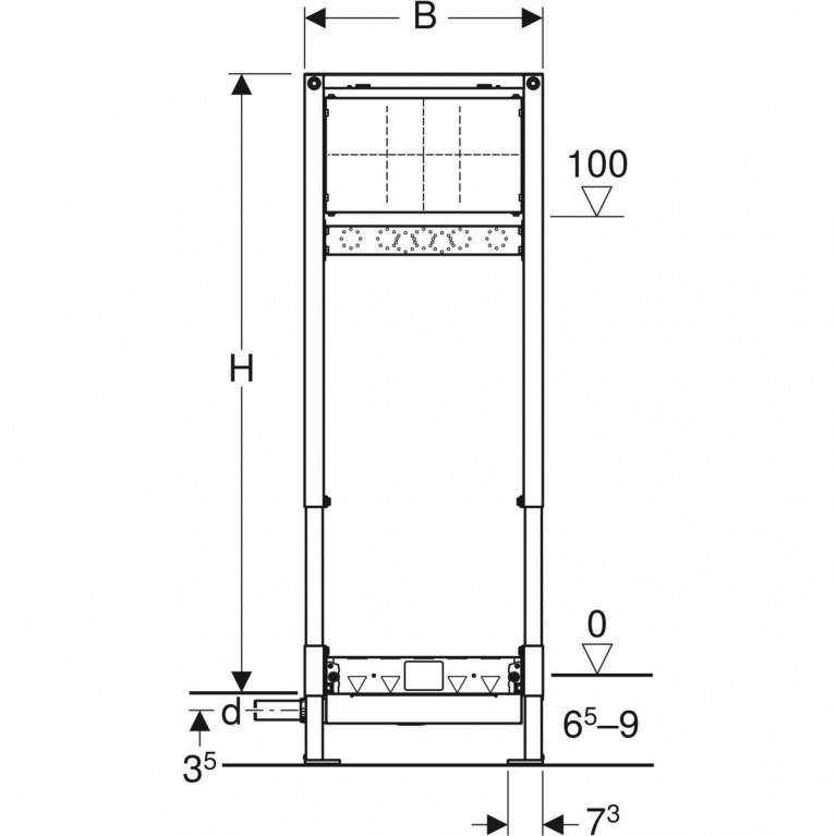Монтажный элемент Geberit Duofix для душевых систем с площадкой для смесителя, H130 см, под стяжку 65-90 мм 111.581.00.1, фото 5