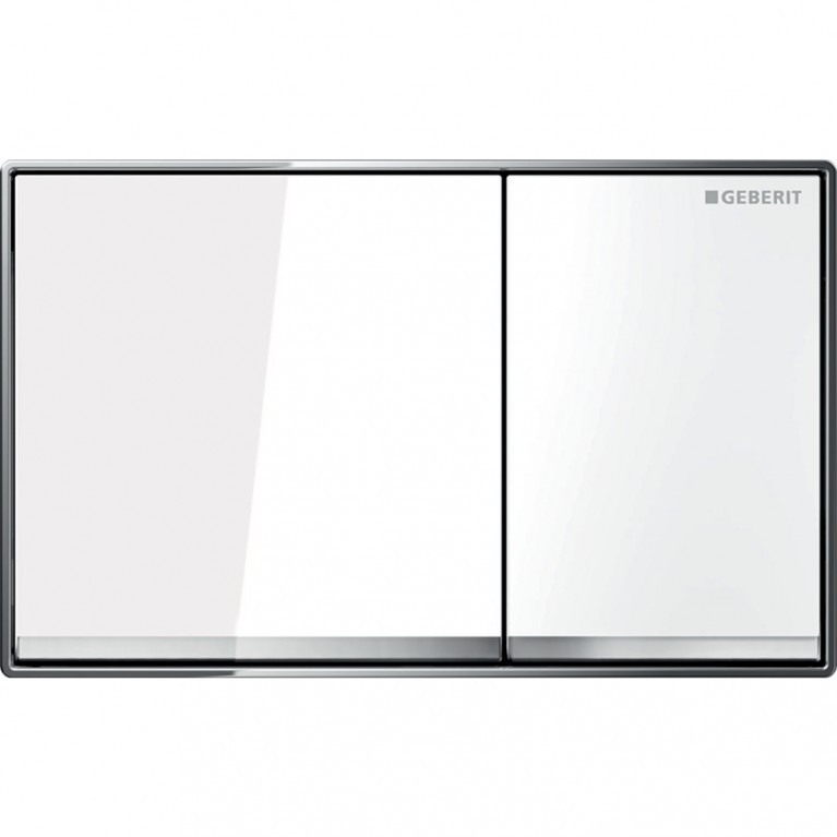 Смывная клавиша заподлицо Geberit Omega60 металл и стекло, двойной смыв, цвет белый и глянцевый хром