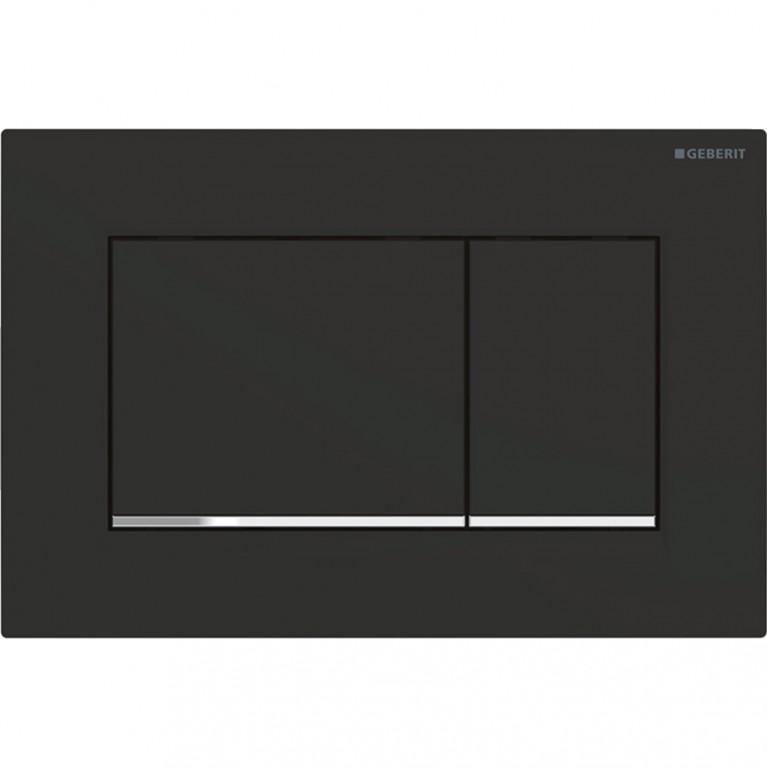 Купить Смывная клавиша Geberit Sigma30 двойной смыв с легкоочищаемой поверхностью, черный матовый и хром глянцевый у официального дилера GEBERIT в Украине