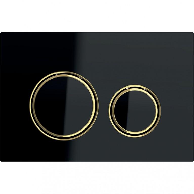Клавиша смыва Geberit Sigma21, для двойного смыва, цвет металлический латунь и черное стекло