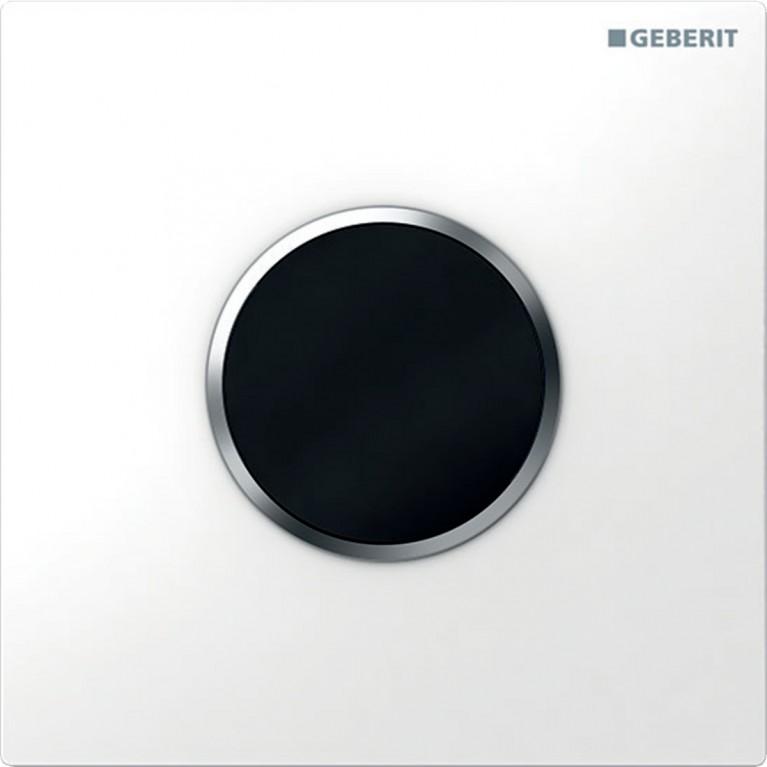 Электронное управления смывом писсуара Geberit, питание от батарей, защитная крышка тип 10, белая и хром матовый