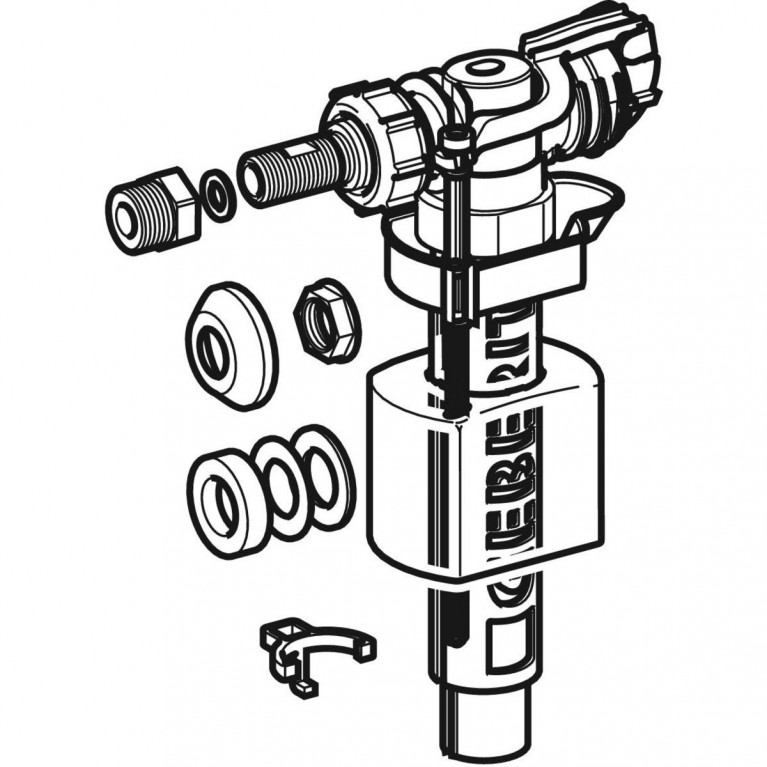 Впускной клапан Geberit IMPULS380, подвод воды сбоку, ниппель из латуни 3/8 и 1/2 281.004.00.1, фото 2