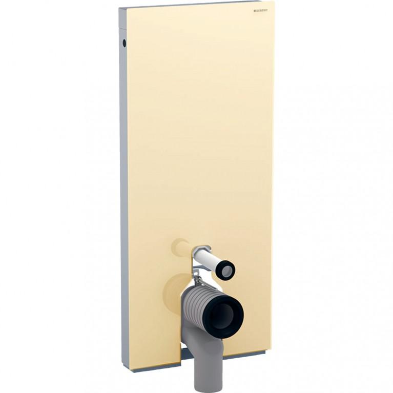 Сантехнический модуль Geberit Monolith Plus для напольного унитаза с сенсорным управлением, 114 см, песочное стекло и алюминий
