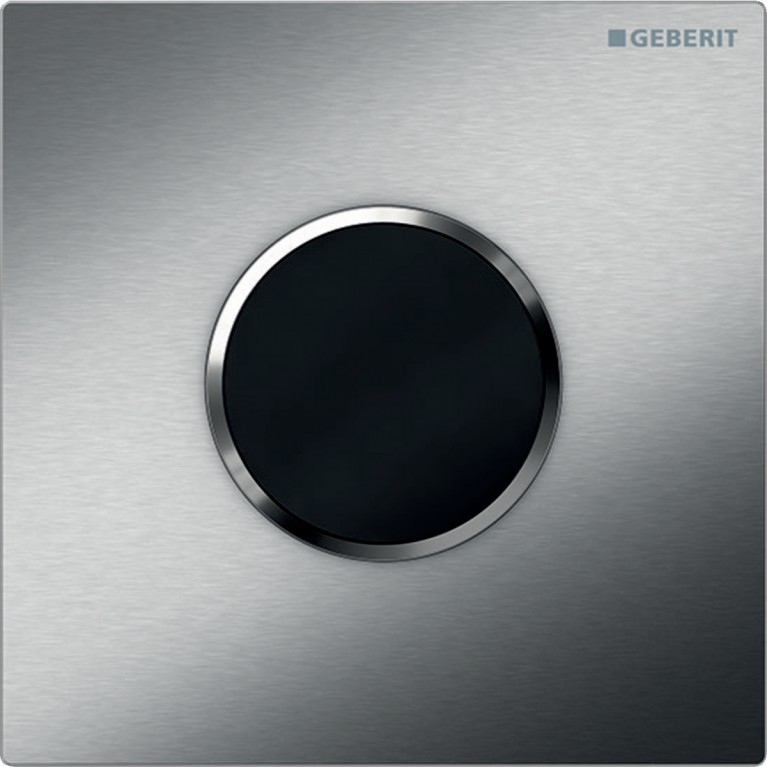 Система электронного управления смывом писсуара Geberit, питание от батарей, Sigma10, нержавеющая сталь