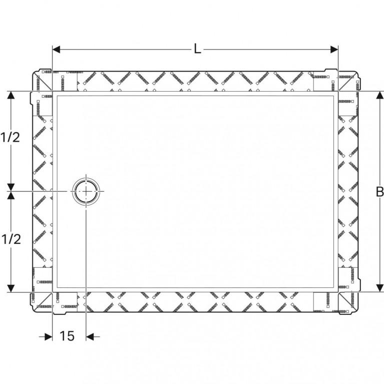 Поверхность для душевой зоны Geberit Setaplano, защита от скольжения, 80х120 см 154.264.11.1, фото 3