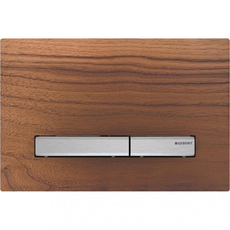 Клавиша смыва Geberit Sigma50, двойной смыв, цвет хромированный и натуральное дерево черный орех