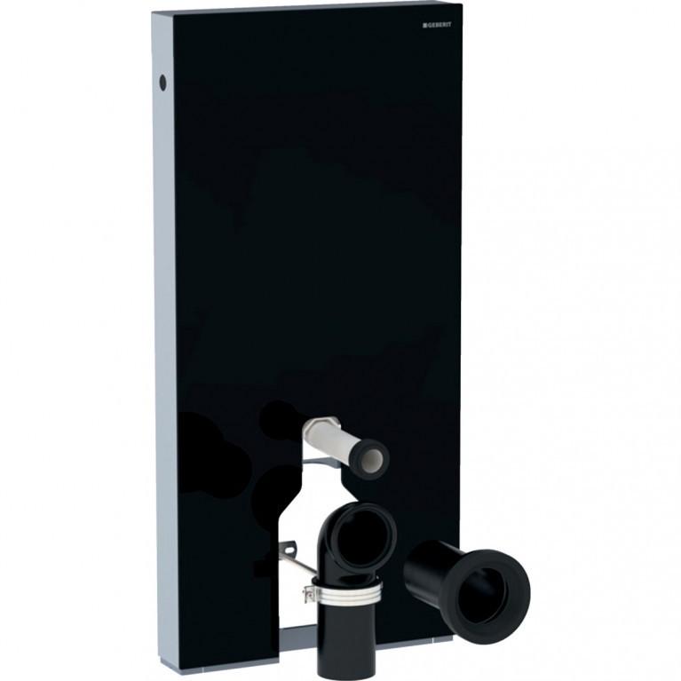 Сантехнический модуль Geberit Monolith для напольного унитаза, 101 см, стекло цвет черный, алюминий черный хром.