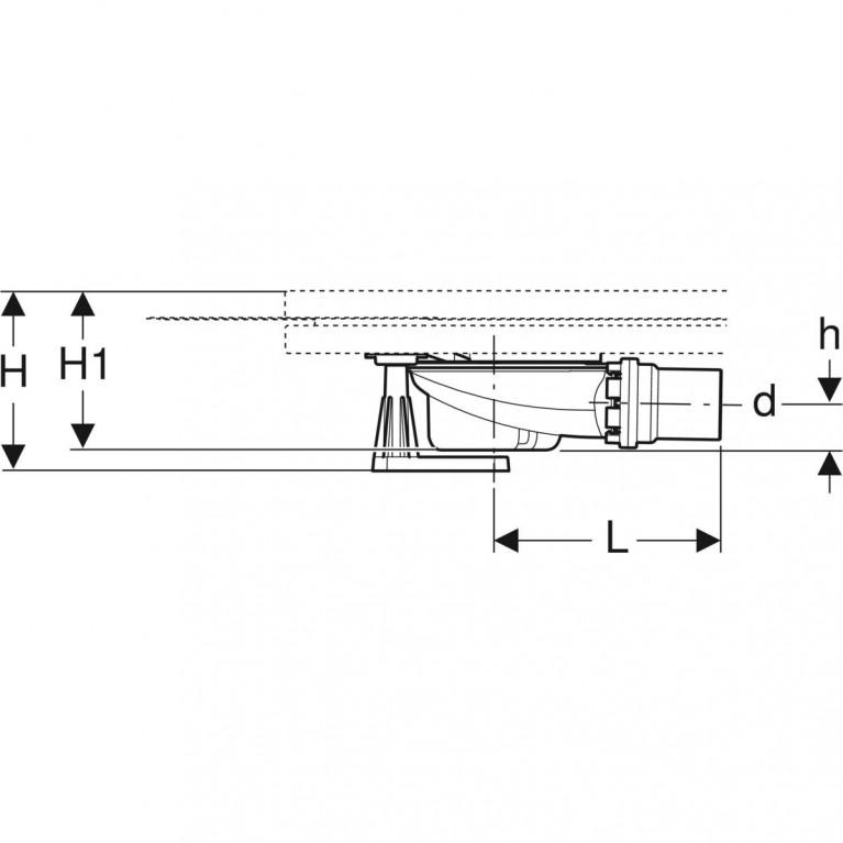 Сифон для душевых поддонов Geberit с четырьмя ножками, для душевого поддона Setaplano, высота гидрозатвора 50 мм 154.010.00.1, фото 3
