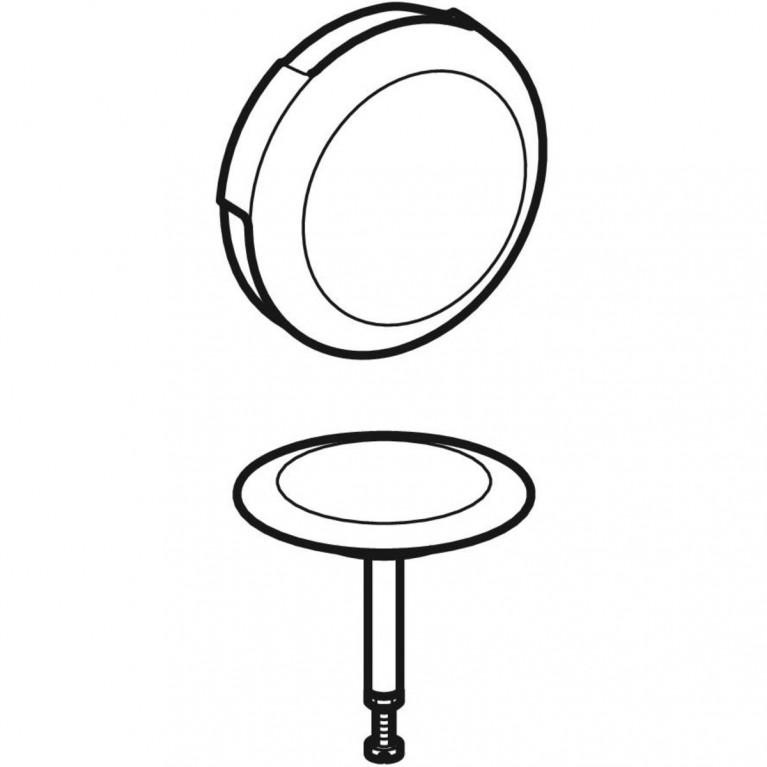 Поворотная ручка и крышка сливного отверстия Geberit для 150.501/150.505, d 52 цвет белый 150.221.11.1, фото 2