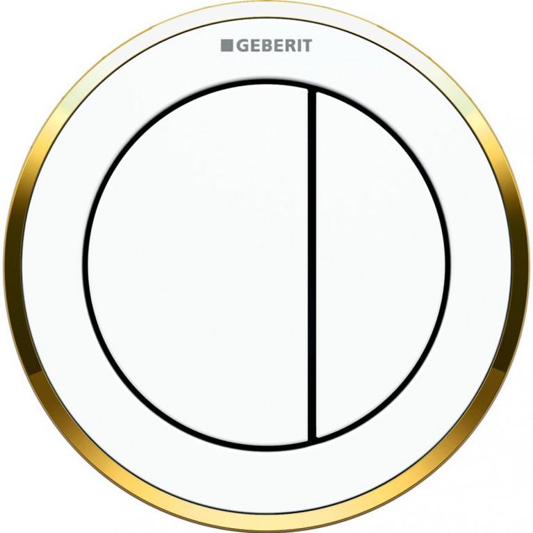 Пневмоклавиша смыва Geberit дистанционная тип 10, двойной смыв, для бачка Sigma 8 см, цвет белый с позолотой