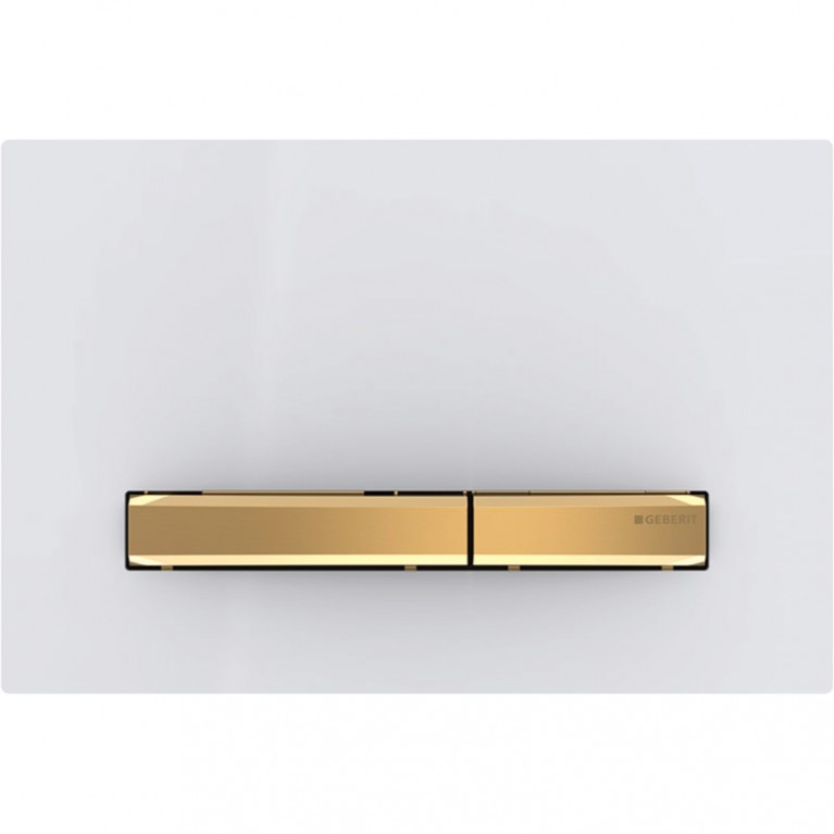 Смывная клавиша Geberit Sigma50 двойной смыв, цвет металлический латунь и белый