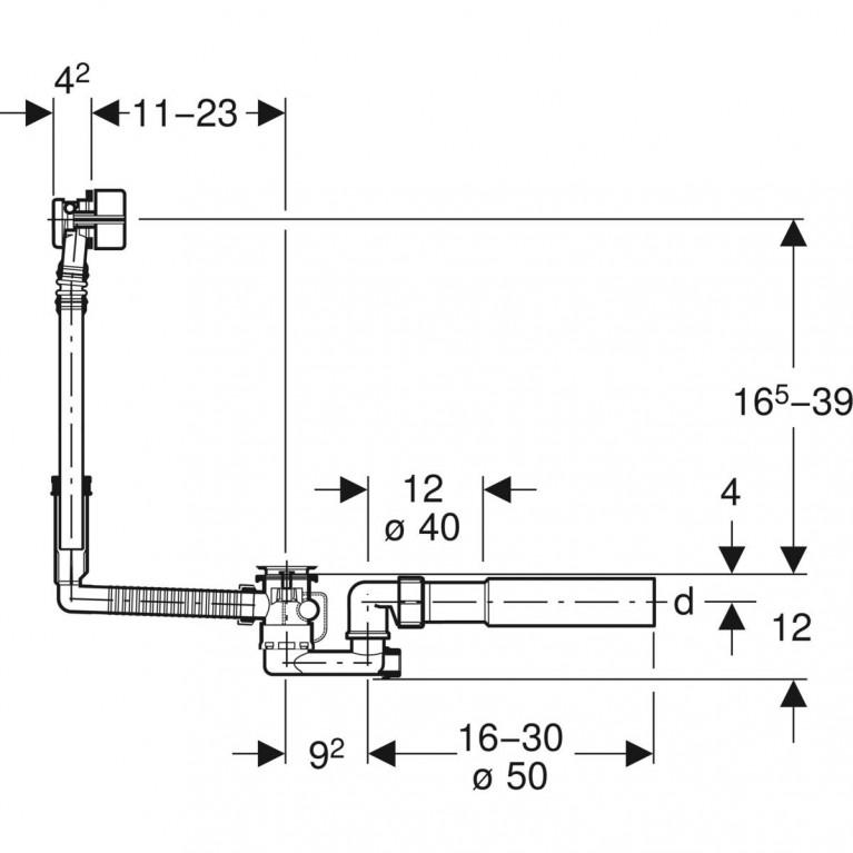 Слив-перелив для ванны Geberit с поворотным механизмом и подводом через перелив, d52, хром глянцевый 150.710.21.1, фото 4