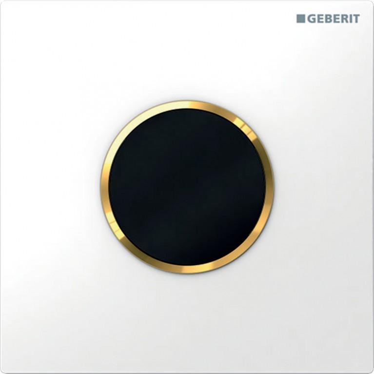 Система электронного управления смывом писсуара Geberit, питание от батарей, защитная крышка тип 10, белая с позолотой