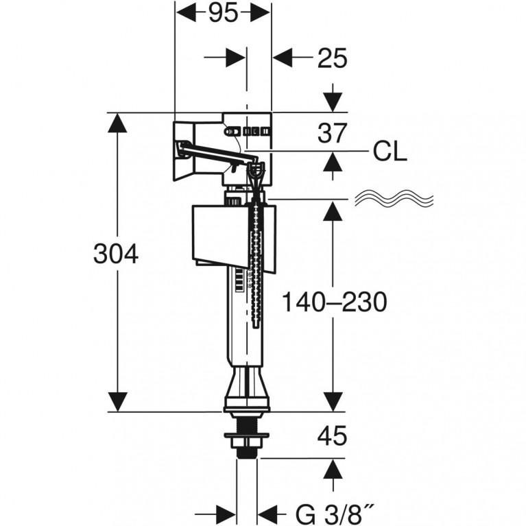 Впускной клапан Geberit IMPULS BASIC340, подвод воды снизу 3/8 136.725.00.1, фото 2
