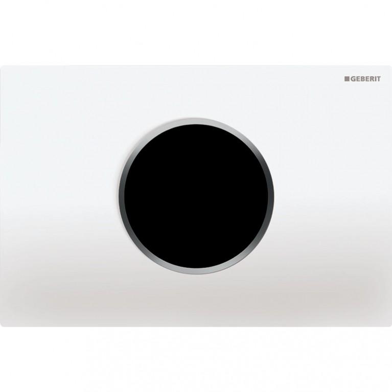 Смывная клавиша бесконтактная Geberit Sigma10, питание от сети, электронное управление, белая и хром